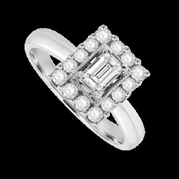 18ct White Gold 15-stone Emerald cut Diamond Cluster Ring