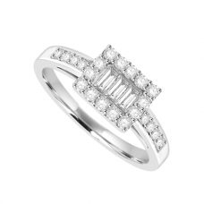 18ct White Gold 3-stone Baguette Diamond Cluster Ring