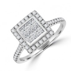 18ct White Gold Princess cut Quad Cluster Halo Diamond Ring