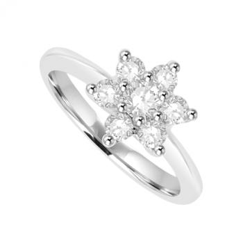 18ct White Gold 7-Stone Diamond Flower Cluster Ring