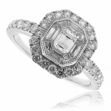 18ct White Gold Baguette Diamond Pave Cluster Ring
