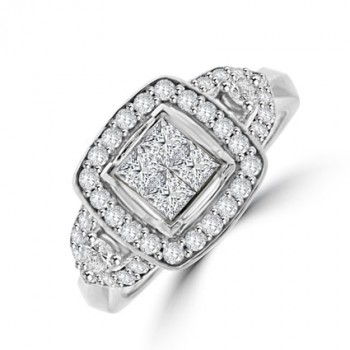 18ct White Gold Princess cut Diamond Tri-cluster ring