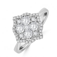 18ct White Gold 9-stone Diamond Cluster Halo Ring