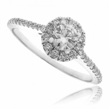 18ct White Gold Diamond Solitaire Halo Ring