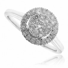 18ct White Gold Solitaire Cluster Halo Diamond Ring