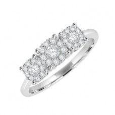 18ct White Gold Three Stone Illusion Diamond Cluster Ring