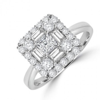 18ct White Gold Baguette Diamond Square Cluster Ring