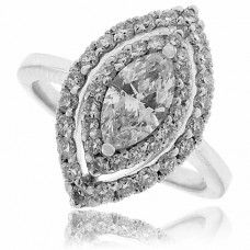 18ct White Gold Marquise Diamond Solitaire Double Halo Ring