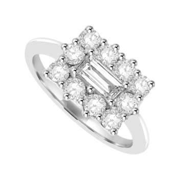 18ct White Gold 11-stone Baguette Diamond Cluster Ring