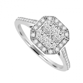 18ct White Gold Diamond Princess cut Cluster Halo Ring