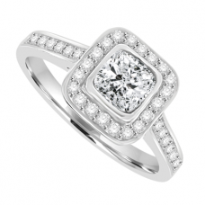 18ct White Gold Cushion cut Solitaire Diamond Halo Ring