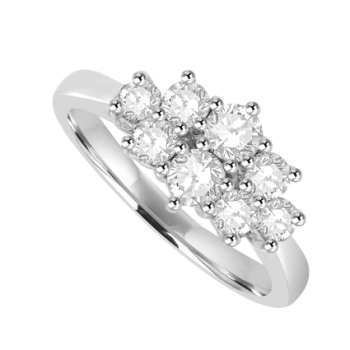 18ct White Gold 8 Diamond Cluster Ring