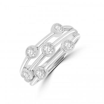 18ct White Gold 6-stone Bubble Diamond Eternity Ring