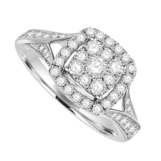 18ct White Gold Diamond Square Cluster Ring with Split Shoulders