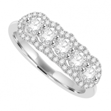 18ct White Gold 5-Stone Diamond Halo Ring