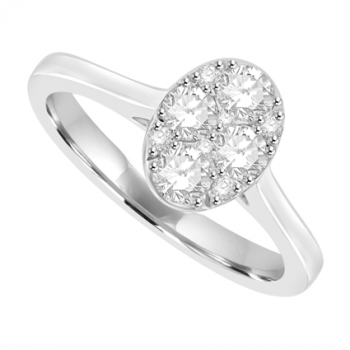 18ct White Gold Oval Solitaire-Illusion Diamond Cluster Ring