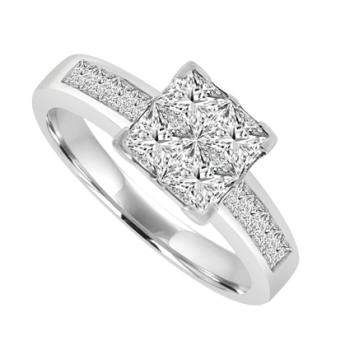 18ct White Gold Princess cut Diamond Cluster Ring