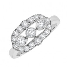 18ct White Gold Three-stone Diamond Surround Vintage Ring