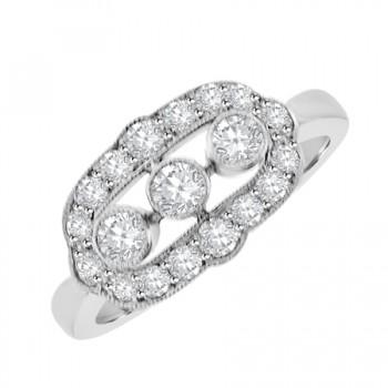 18ct White Gold Three-stone Diamond Vintage