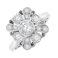 18ct White Gold Vintage Square Cluster Ring