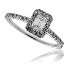 18ct White Gold Emerald cut Diamond Halo Ring