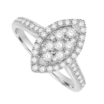 18ct White Gold Diamond Marquise Cluster Ring