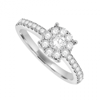 18ct White Gold Illusion Solitaire Diamond Ring
