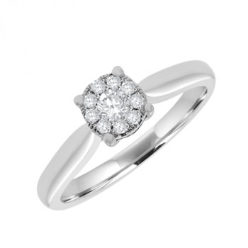 18ct White Gold Solitaire Illusion Diamond Cluster Ring