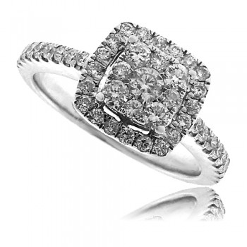 18ct White Gold Square Diamond Cluster Ring