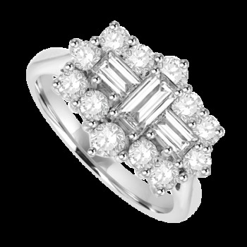 18ct White Gold 15 Diamond Baguette Cluster Ring