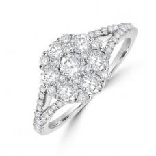 18ct White Gold 19-stone Diamond Cluster Ring