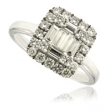 18ct White Gold Diamond Baguette Square Cluster Ring