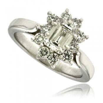 18ct White Gold Emerald cut Diamond Cluster Ring