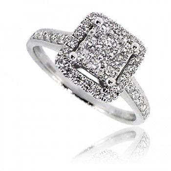 18ct White Gold Diamond Square Cluster Halo Ring