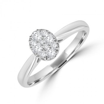 18ct White Gold Solitaire Illusion Diamond Ring