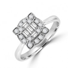 18ct White Gold Baguette Diamond Vintage Cluster Ring