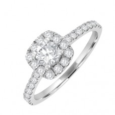 18ct White Gold Solitaire Diamond Engagment Ring with Halo.