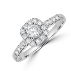 18ct White Diamond Cluster Ring .55ct with Diamond Shoulders