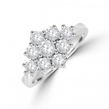 18ct White Gold 3x3 1.22ct Diamond Cluster Ring