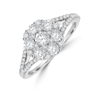 18ct White Gold Diamond Cluster ring with split shoulders