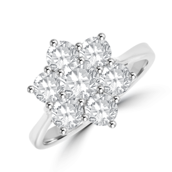 18ct White Gold 7-stone Diamond Flower Cluster Ring
