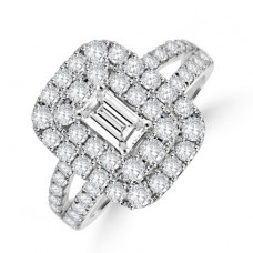18ct White Gold Emerald cut Diamond Cluster Ring