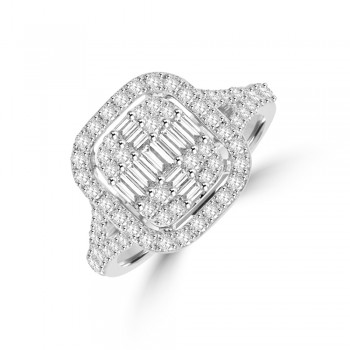 18ct White Gold Baguette Diamond Cluster Cushion Halo Ring