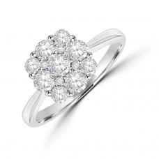 18ct White Gold Diamond Cushion-shaped Cluster Engagement Ring