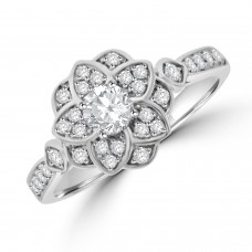 18ct White Gold Vintage style Solitaire Diamond Ring