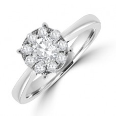 18ct White Gold Diamond Solitaire Illusion Ring