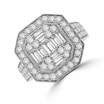 18ct White Gold Baguette Diamond Octagonal Cluster Ring