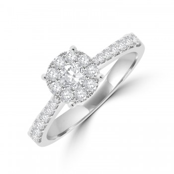 18ct White Gold Solitaire Illusion-cluster Diamond Ring