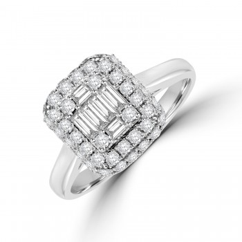 18ct White Gold Baguette Diamond Cluster 3D Halo Ring