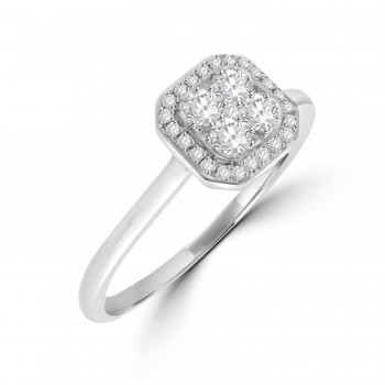 18ct White Gold Diamond Illusion Cushion Cluster Halo Ring